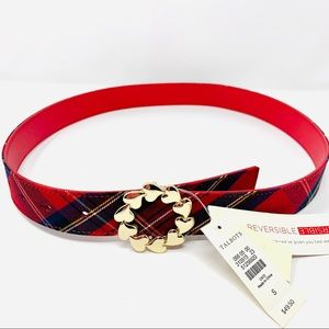 NWT TALBOTS Red & Plaid Reversible Belt S